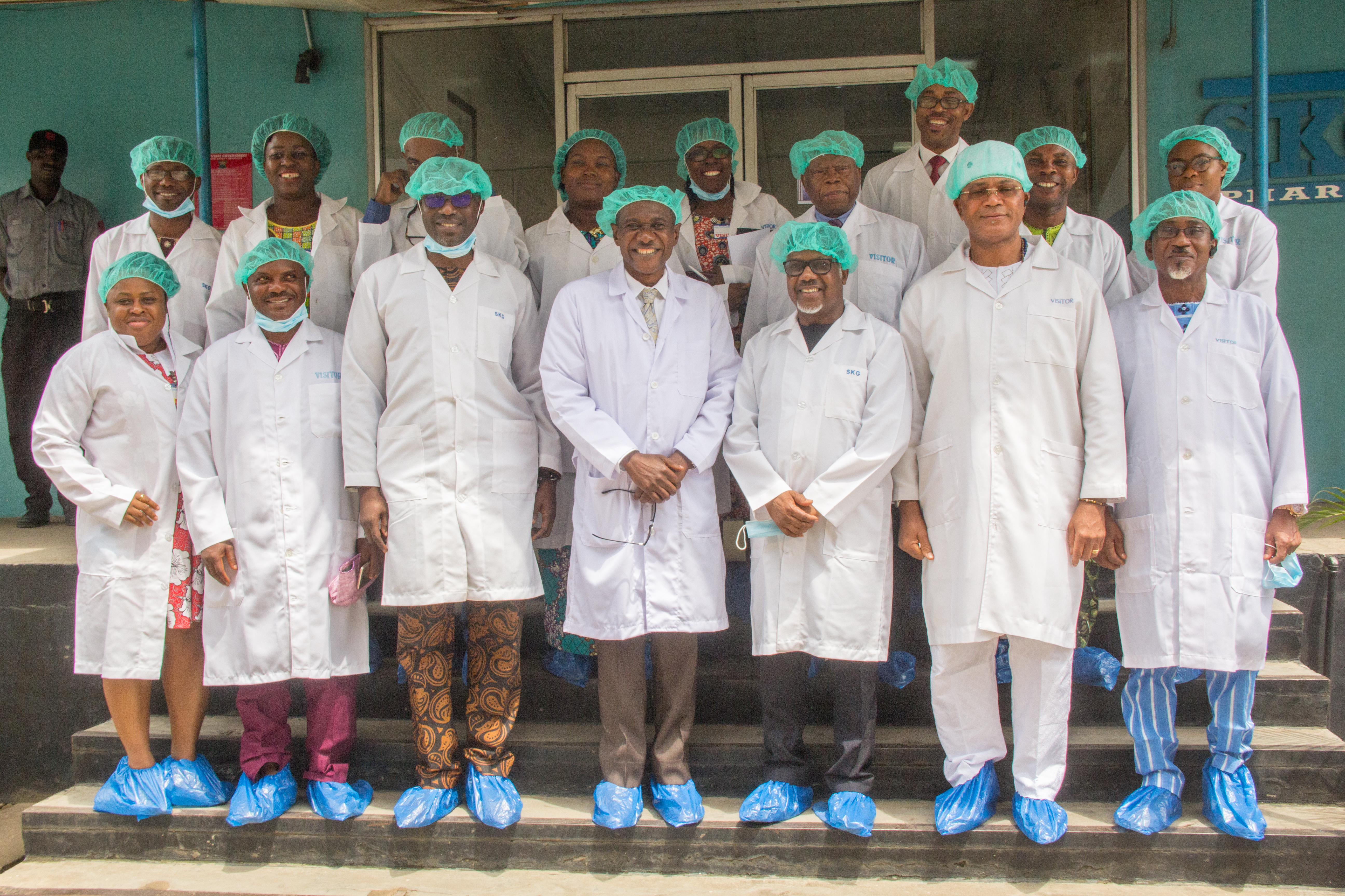 A group photograph after the tour of SKG Pharma Ltd