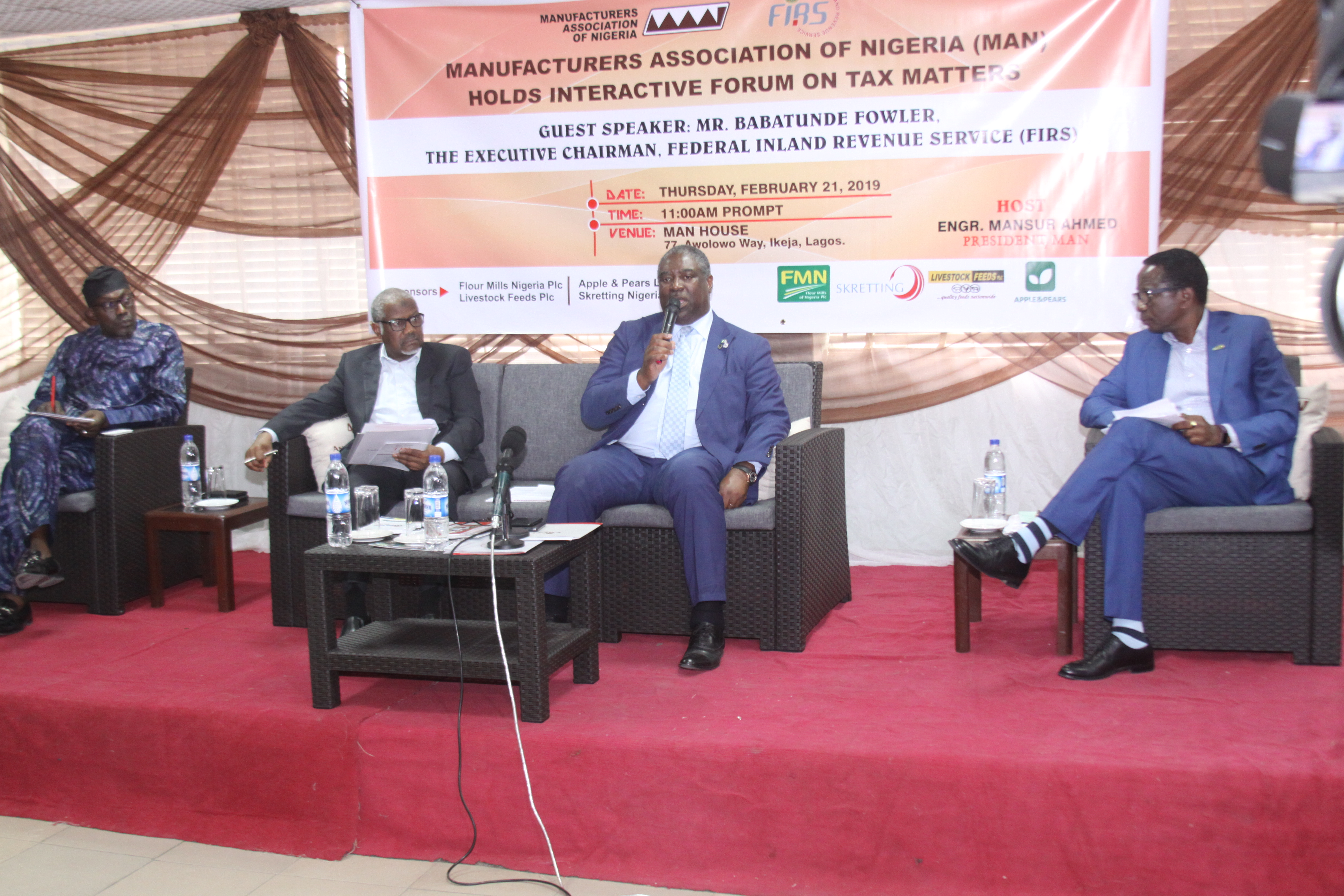 L-R: Mr Segun Ajayi-Kadir, DG MAN, Engr. Mansur Ahmed, MAN President, Mr Babatunde Fowler, Chairman