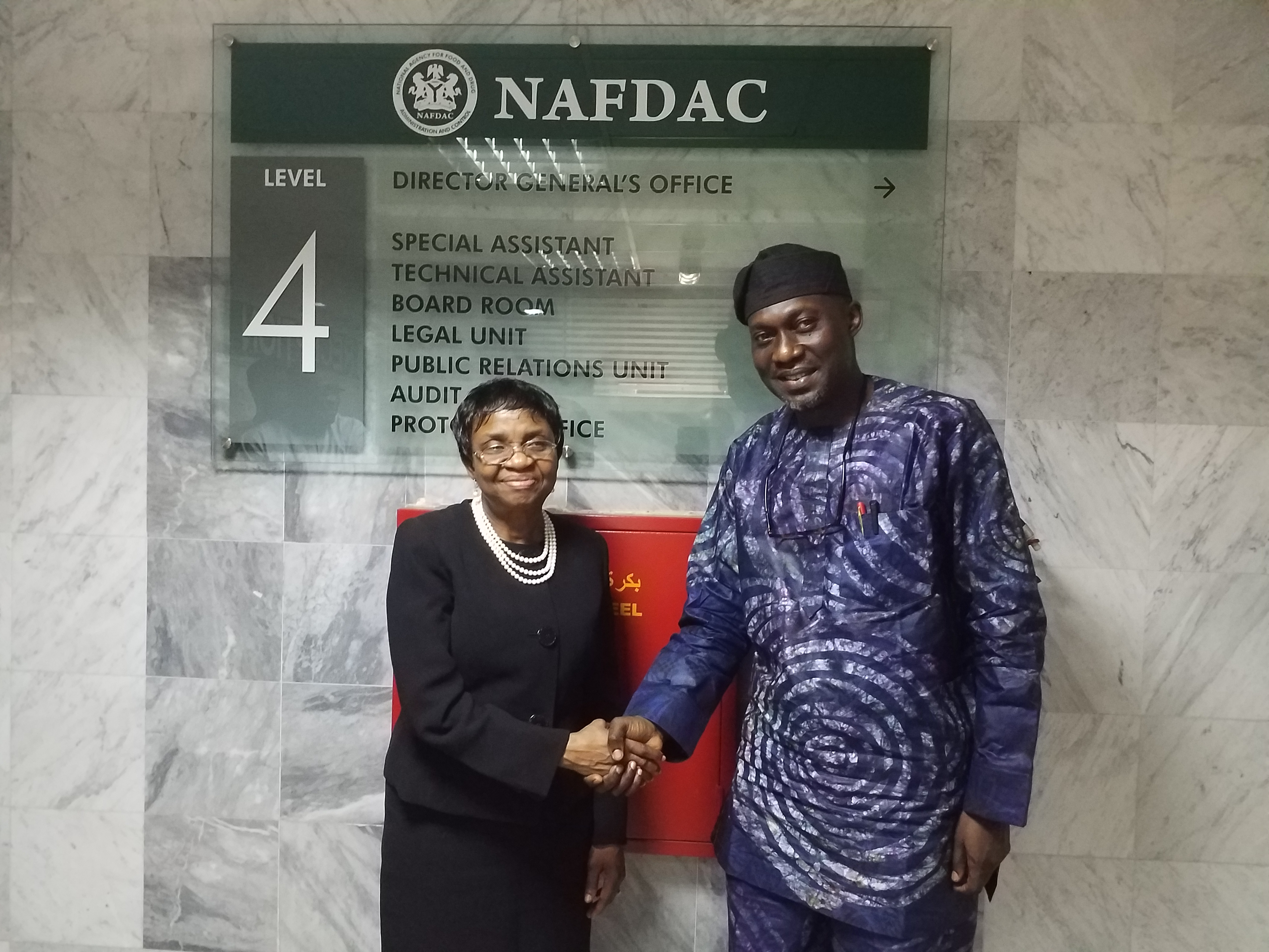 A warm handshake between MAN DG and DG NAFDAC, Prof. Mojisola Christianah Adeyeye